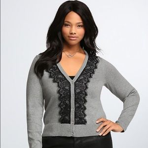 Torrid gray sweater with black lace